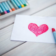 colored heart on paper