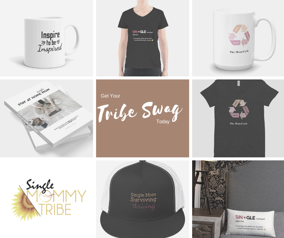 Layout of mugs, t-shirts, hats, books and pillows