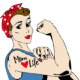 mom life tattoo on illustrate woman flexing biceps